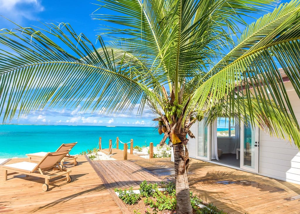 Ocean views and palm trees at The Salt House, Little Exuma, Bahamas